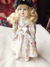 "COLLECTOR DOLL STUFFED BODY HANDPAINTED FACE GLASS EYES 12"" FLORAL DRESS & STAND"
